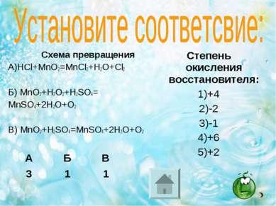Схема превращения А)HCl+MnO2=MnCl2+H2O+Cl2 Б) MnO2+H2O2+H2SO4= MnSO4+2H2O+O2 ...