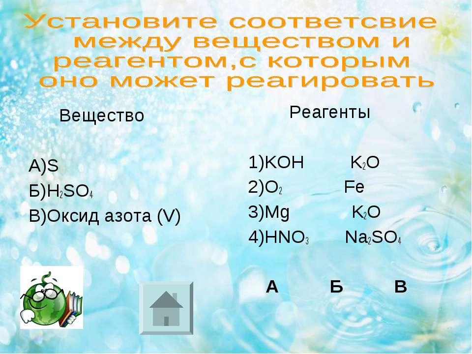 Вещество А)S Б)H2SO4 В)Оксид азота (V) Реагенты 1)KOH K2O 2)O2 Fe 3)Mg K2O 4)...