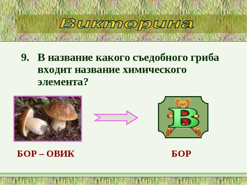 9. В название какого съедобного гриба входит название химического элемента? Б...