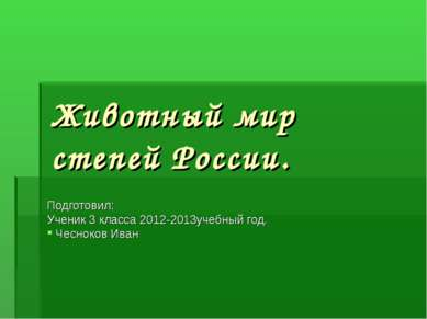 Животный мир степей России. Подготовил: Ученик 3 класса 2012-2013учебный год....