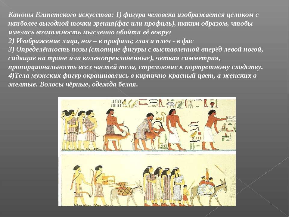 Каноны Египетского искусства: 1) фигура человека изображается целиком с наибо...