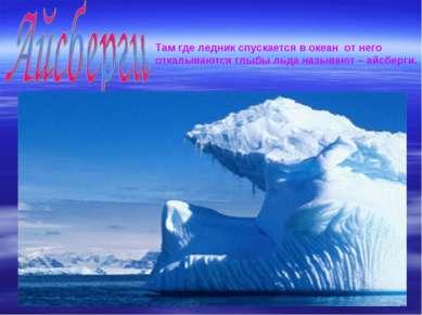 Там где ледник спускается в океан от него откалываются глыбы льда называют – ...