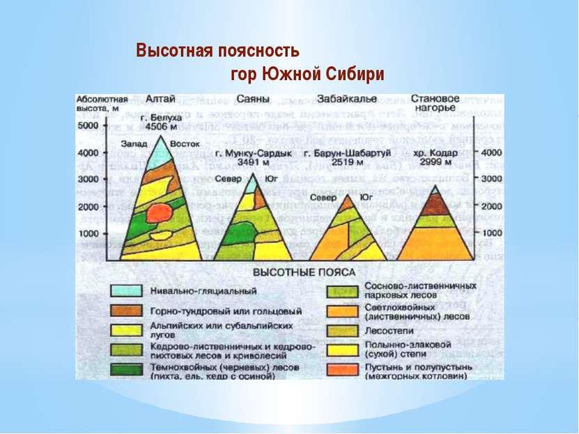 Высотная поясность гор Южной Сибири