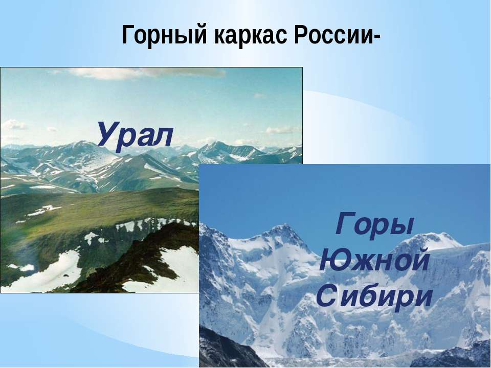 Горный каркас России- Урал Горы Южной Сибири