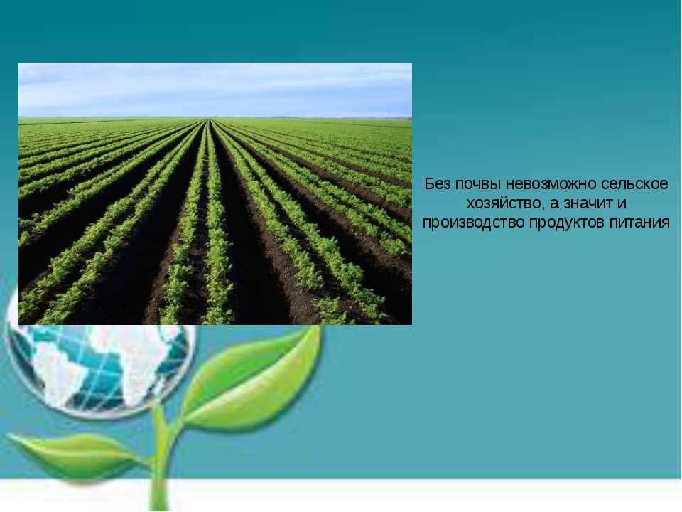 Без почвы невозможно сельское хозяйство, а значит и производство продуктов пи...
