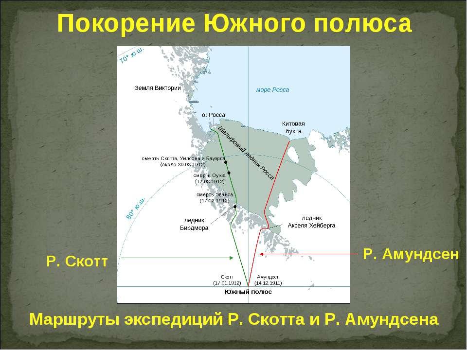 Маршруты экспедиций Р. Скотта и Р. Амундсена Р. Амундсен Р. Скотт Покорение Ю...