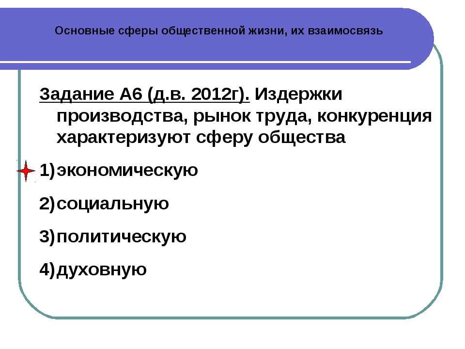 Основные сферы общественной жизни, их взаимосвязь Задание А6 (д.в. 2012г). Из...