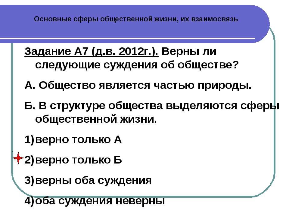 Основные сферы общественной жизни, их взаимосвязь Задание А7 (д.в. 2012г.). В...
