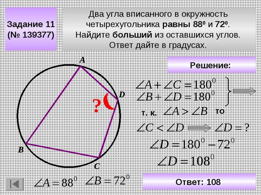 Два угла вписанного в окружность четырехугольника равны 880 и 720. Найдите бо...
