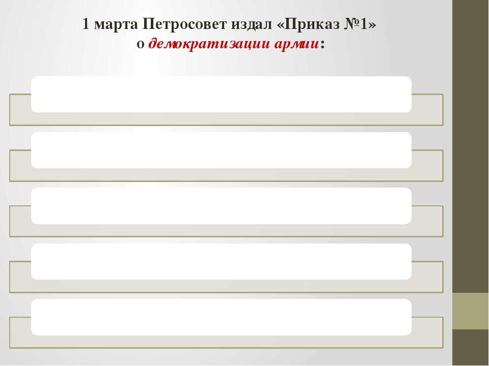 1 марта Петросовет издал «Приказ №1» о демократизации армии: