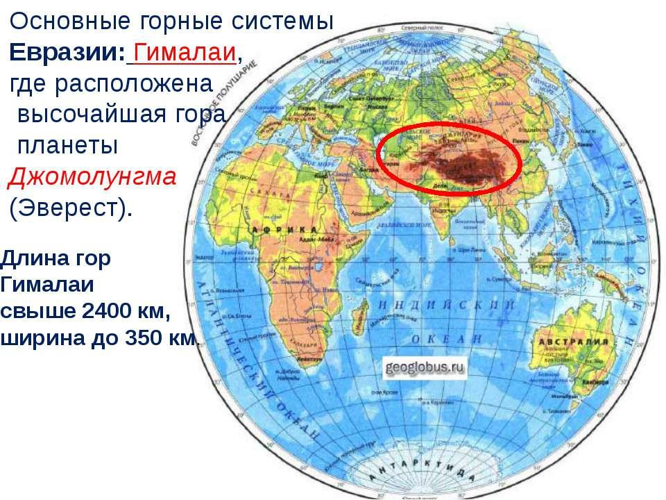 Основные горные системы Евразии: Гималаи, где расположена высочайшая гора пла...