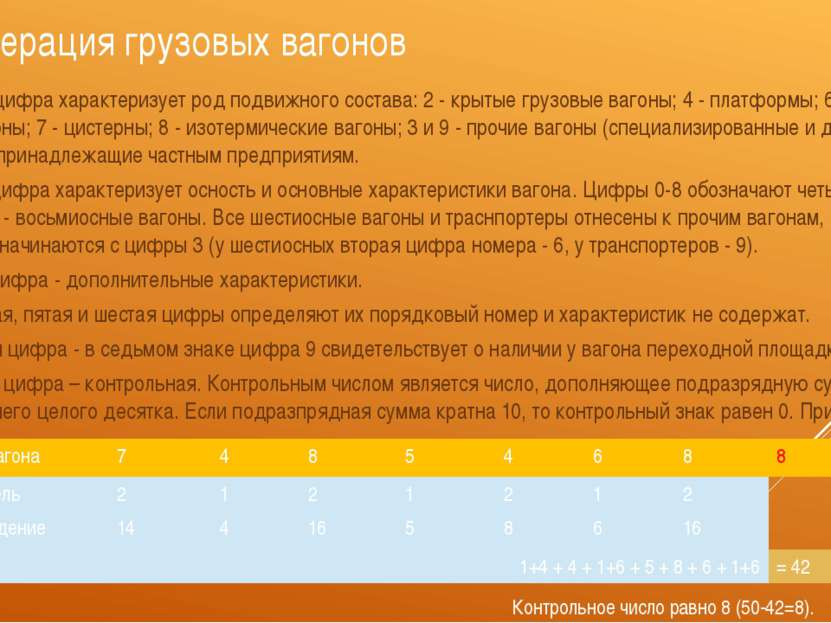 Нумерация грузовых вагонов Первая цифра характеризует род подвижного состава:...