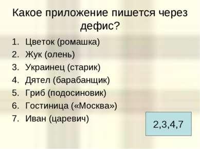 Какое приложение пишется через дефис? Цветок (ромашка) Жук (олень) Украинец (...