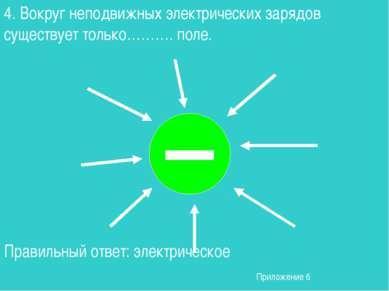 4. Вокруг неподвижных электрических зарядов существует только………. поле. Прави...