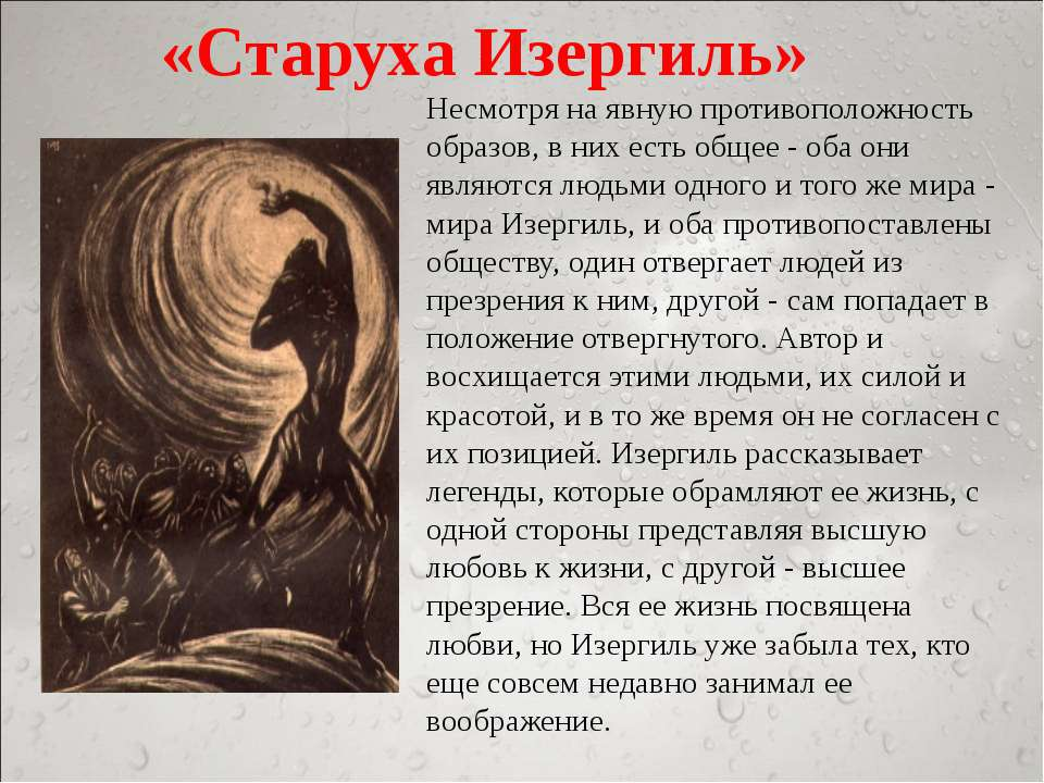 «Старуха Изергиль» Несмотря на явную противоположность образов, в них есть об...