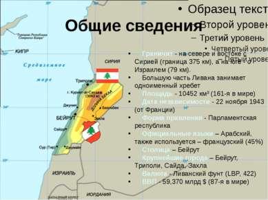 Общие сведения Граничит - на севере и востоке с Сирией (граница 375 км), а на...