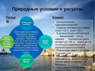 Природные условия и ресурсы Субтропический средиземноморский. Средние темпера...