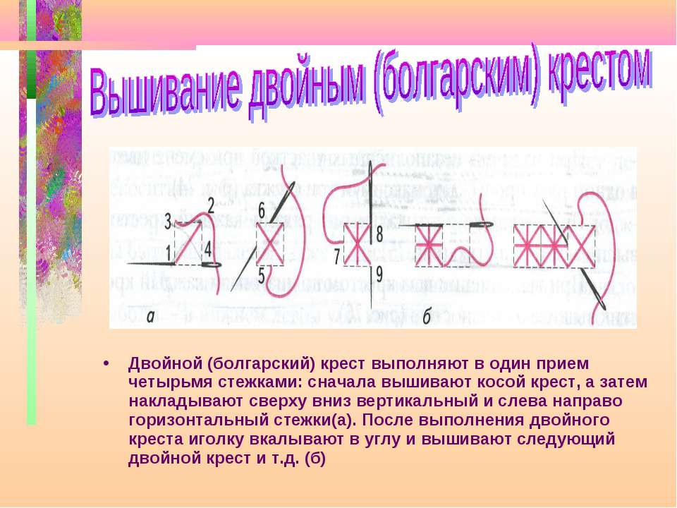 Двойной (болгарский) крест выполняют в один прием четырьмя стежками: сначала ...