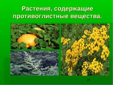 Растения, содержащие противоглистные вещества.