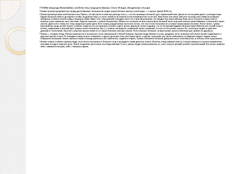 ТУКАНЫ (перцееды, Ramphastidae), семейство птиц отряда дятлообразных. Около 4...