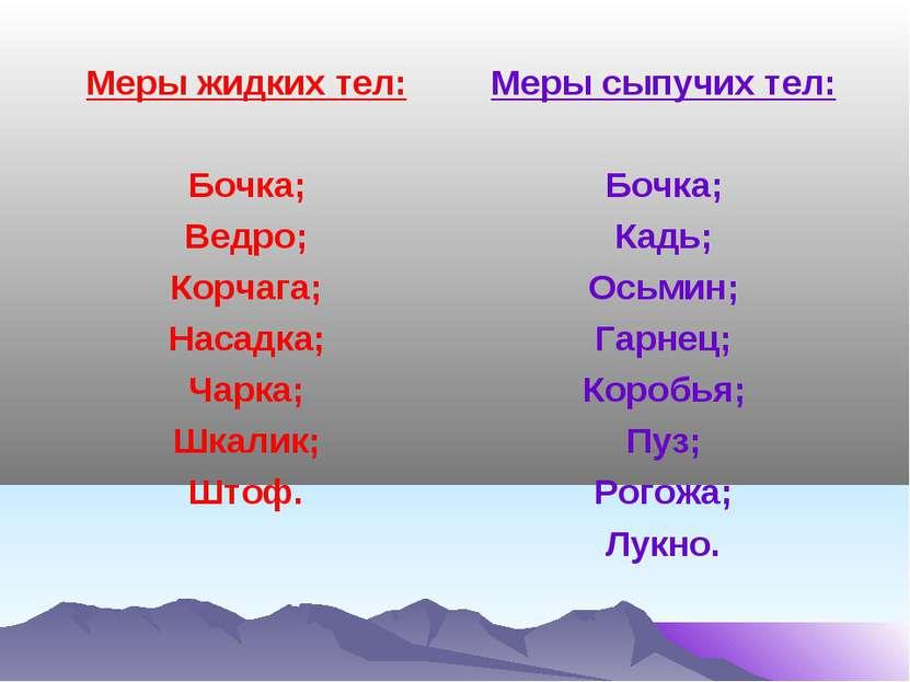 Меры жидких тел: Бочка; Ведро; Корчага; Насадка; Чарка; Шкалик; Штоф. Меры сы...