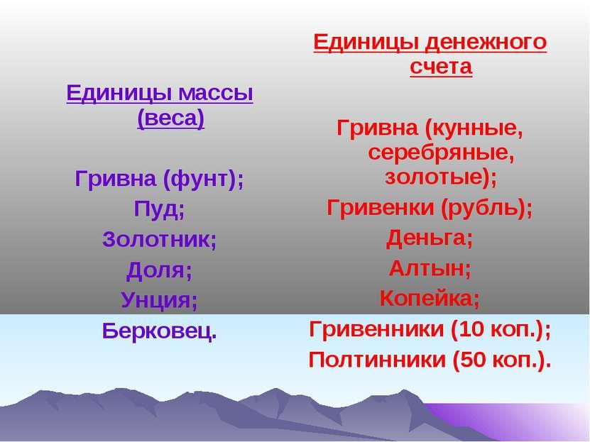 Единицы массы (веса) Гривна (фунт); Пуд; Золотник; Доля; Унция; Берковец. Еди...