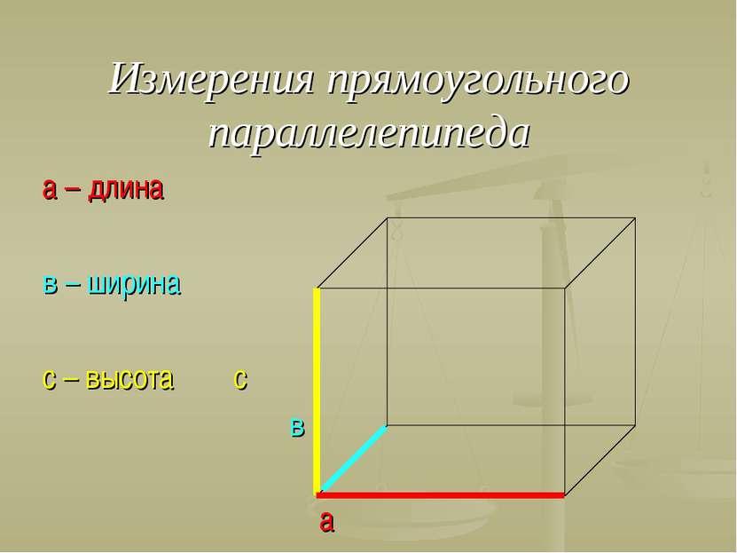 Измерения прямоугольного параллелепипеда а – длина в – ширина с – высота с в а