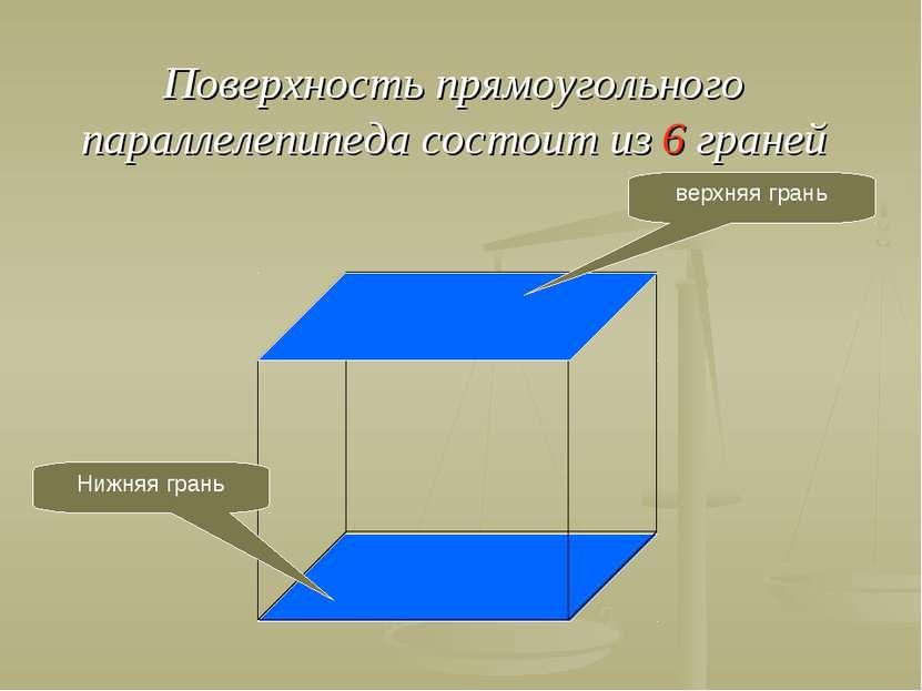 Поверхность прямоугольного параллелепипеда состоит из 6 граней Нижняя грань в...