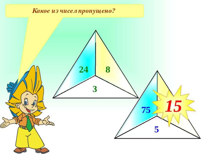 Какое из чисел пропущено? 24 8 3 75 5 ? 15