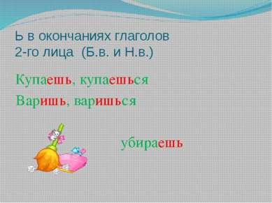 Ь в окончаниях глаголов 2-го лица (Б.в. и Н.в.) Купаешь, купаешься Варишь, ва...
