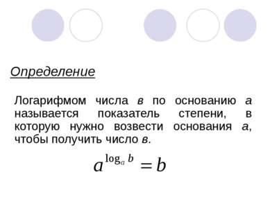 Определение Логарифмом числа в по основанию а называется показатель степени, ...