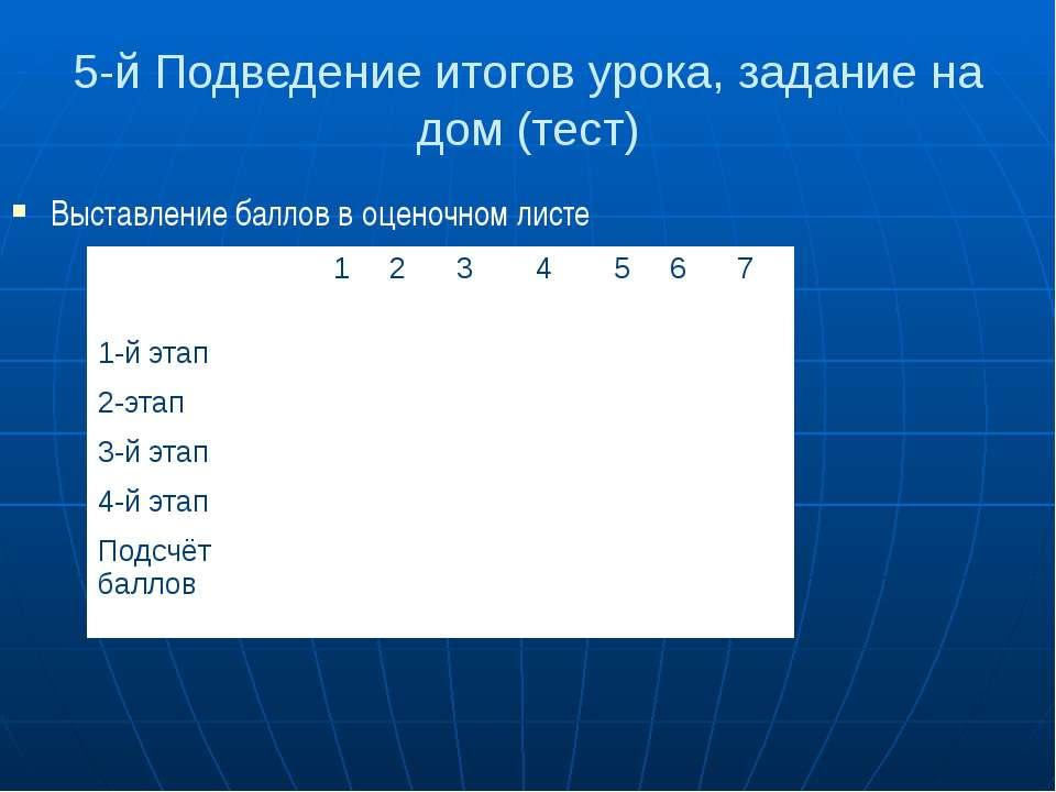 5-й Подведение итогов урока, задание на дом (тест) Выставление баллов в оцено...
