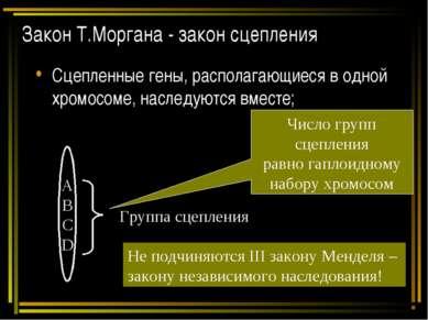Закон Т.Моргана - закон сцепления Сцепленные гены, располагающиеся в одной хр...