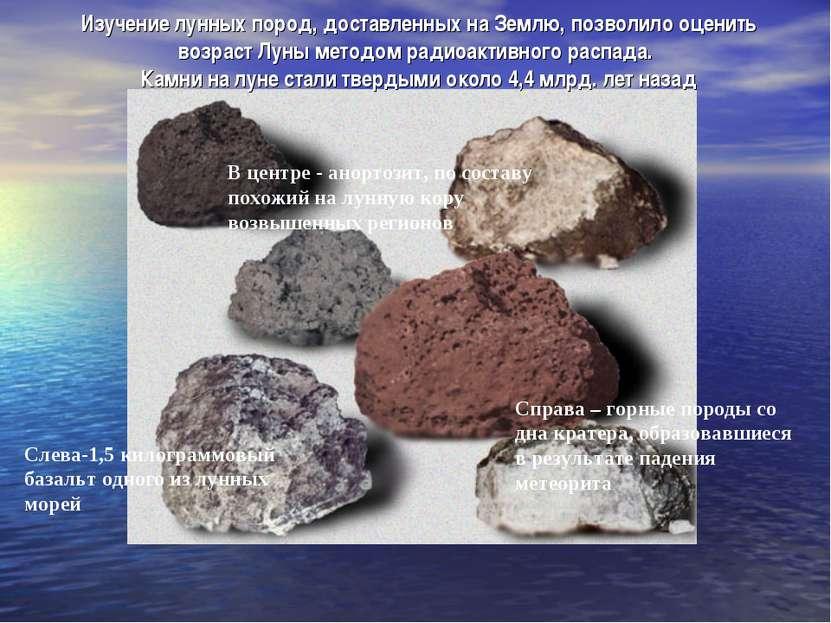 Изучение лунных пород, доставленных на Землю, позволило оценить возраст Луны ...