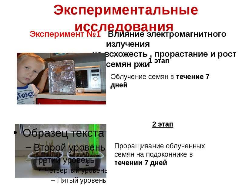 Экспериментальные исследования Эксперимент №1 Влияние электромагнитного излуч...