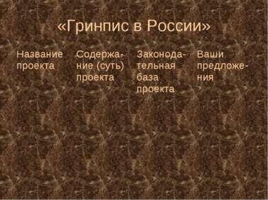 «Гринпис в России» Название проекта Содержа-ние (суть) проекта Законода-тельн...