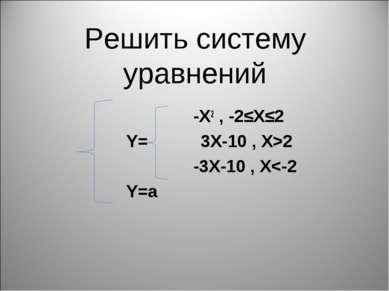 Решить систему уравнений -X2 , -2≤X≤2 Y= 3X-10 , X>2 -3X-10 , X