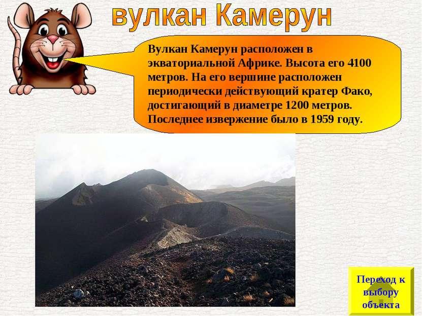 Вулкан Камерун расположен в экваториальной Африке. Высота его 4100 метров. На...