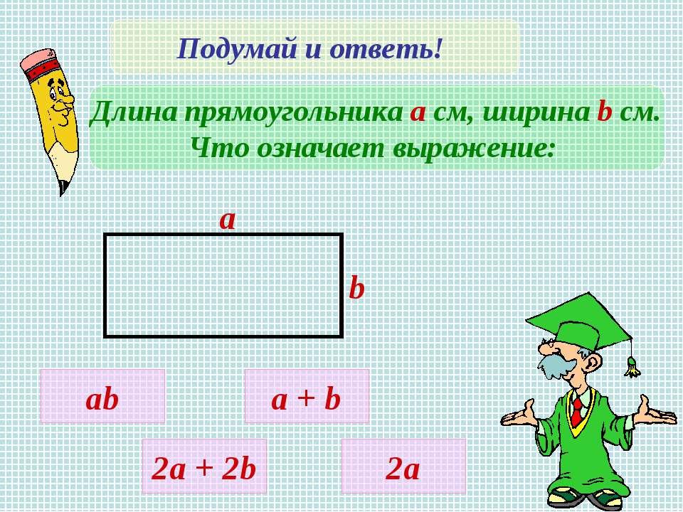 Подумай и ответь! Длина прямоугольника а см, ширина b cм. Что означает выраже...