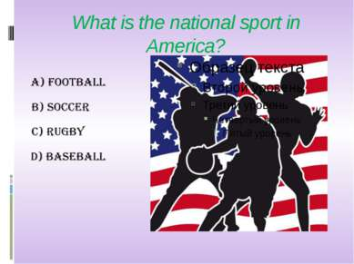 What is the national sport in America?