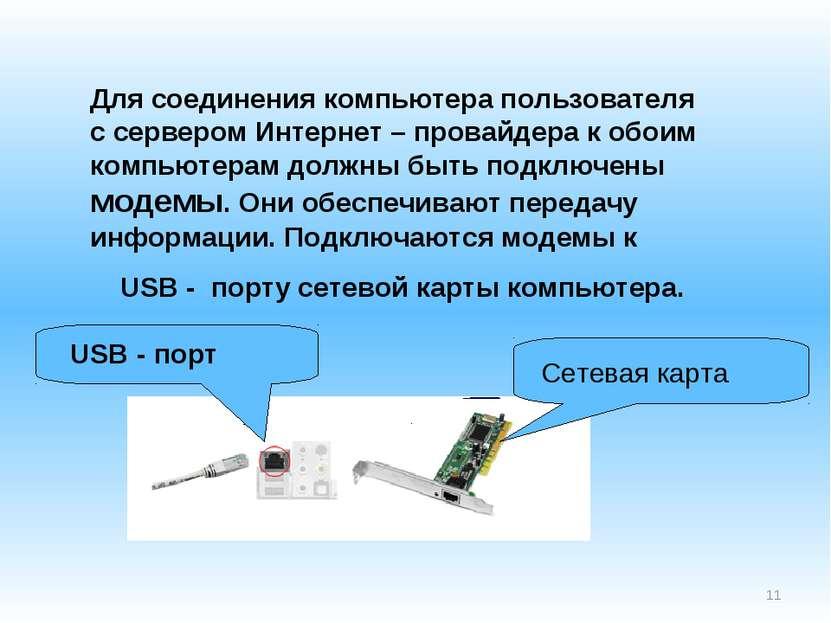 * Для соединения компьютера пользователя с сервером Интернет – провайдера к о...