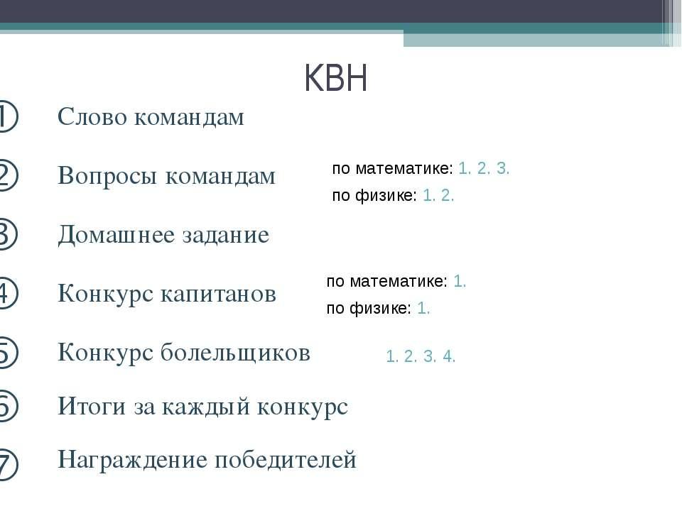 КВН o Итоги за каждый конкурс p Награждение победителей по математике: 1. 2. ...