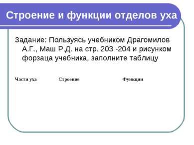 Строение и функции отделов уха Задание: Пользуясь учебником Драгомилов А.Г., ...