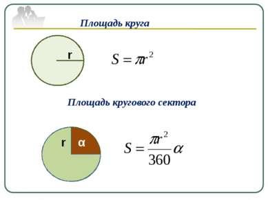 Площадь круга r Площадь кругового сектора r α