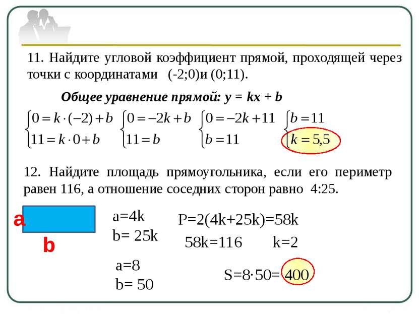 11. Найдите угловой коэффициент прямой, проходящей через точки с координатами...