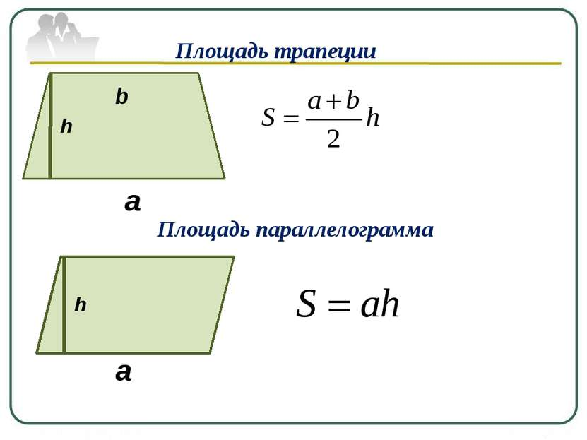 Площадь трапеции h a b Площадь параллелограмма h a