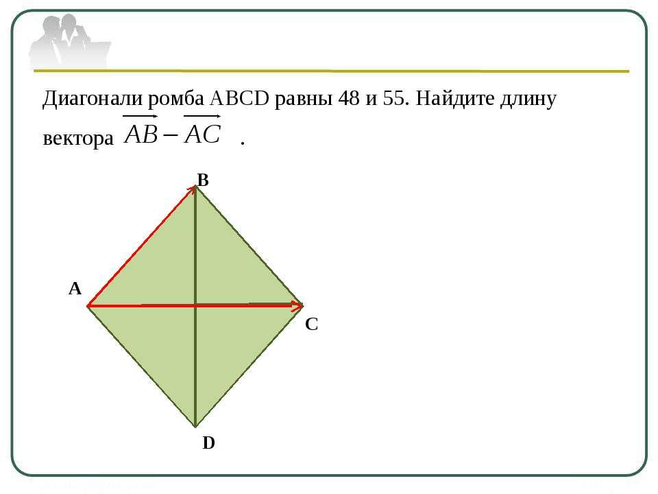 Диагонали ромба ABCD равны 48 и 55. Найдите длину вектора . А В С D