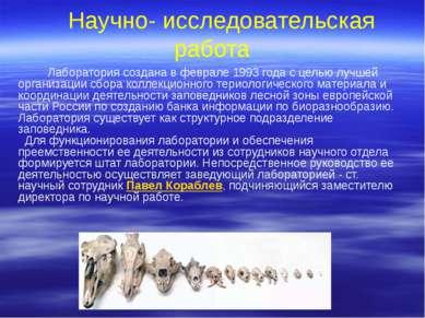 Научно- исследовательская работа Лаборатория создана в феврале 1993 года с це...