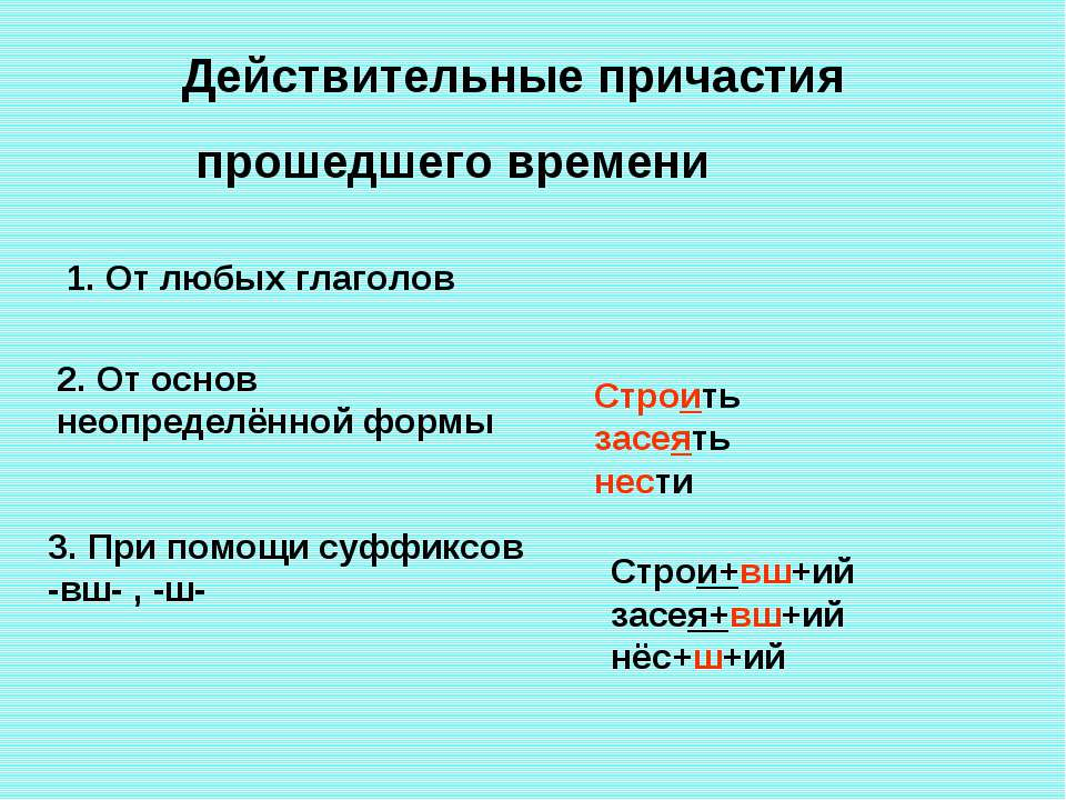 Действительные причастия прошедшего времени 1. От любых глаголов 2. От основ ...