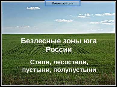 Безлесные зоны юга России Степи, лесостепи, пустыни, полупустыни